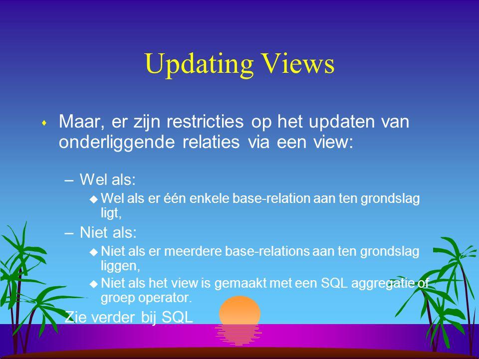 Updating Views Maar, er zijn restricties op het updaten van onderliggende relaties via een view: Wel als: