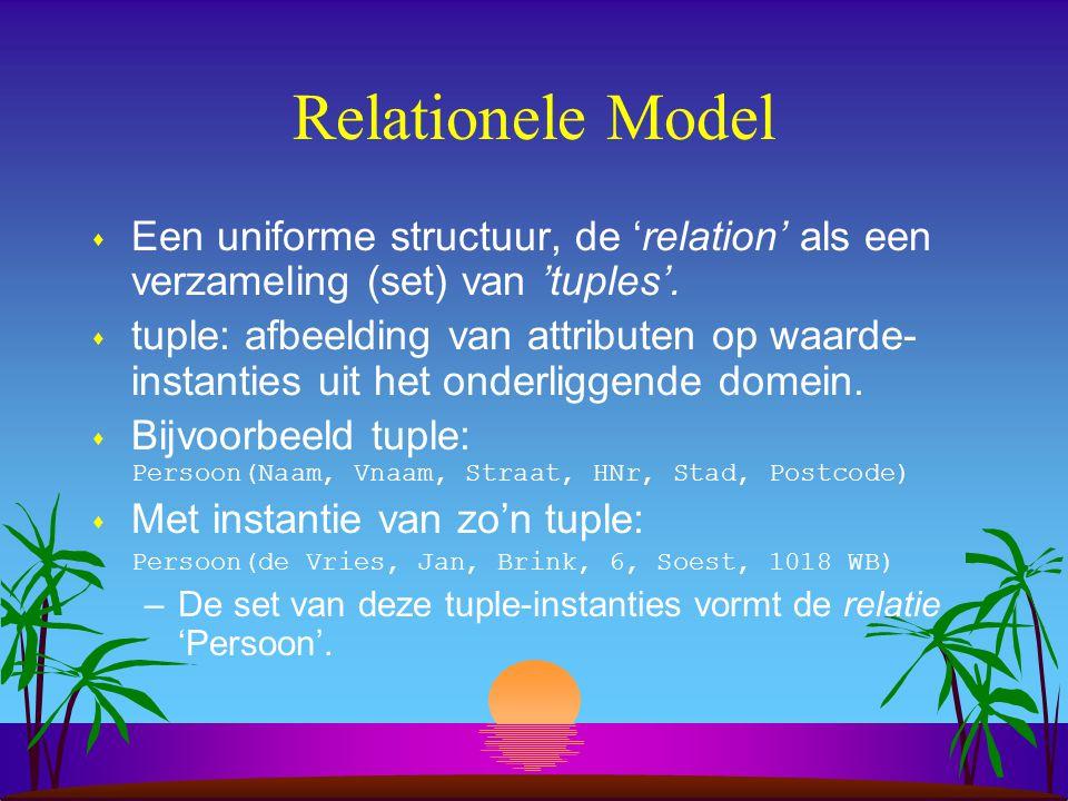 Relationele Model Een uniforme structuur, de 'relation' als een verzameling (set) van 'tuples'.