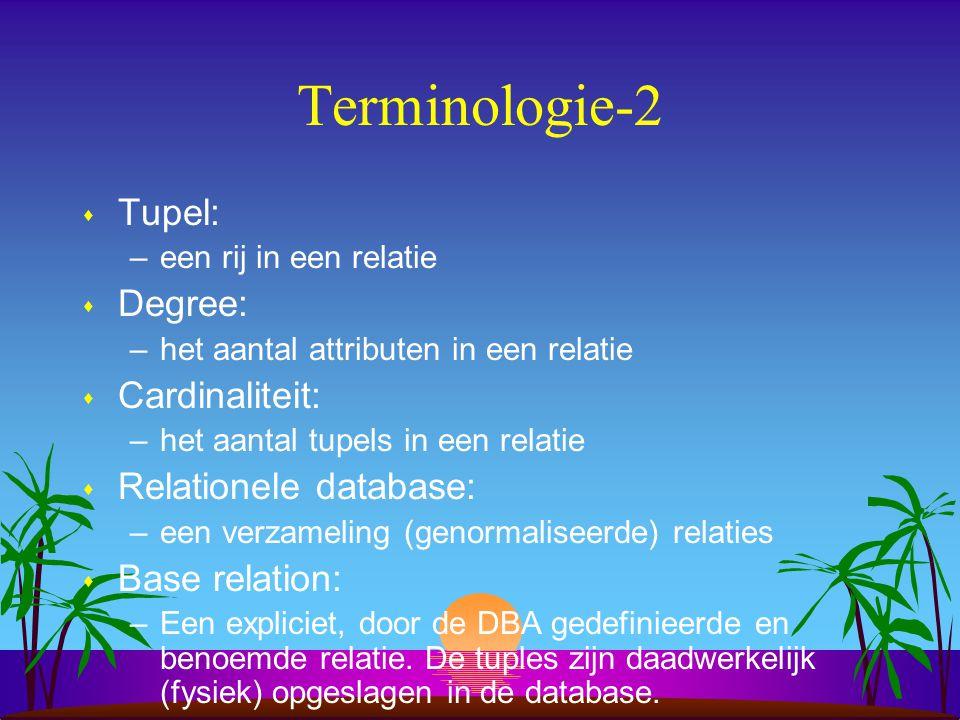 Terminologie-2 Tupel: Degree: Cardinaliteit: Relationele database: