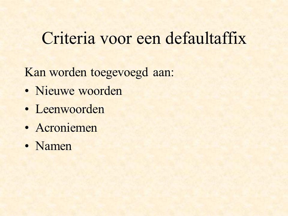 Criteria voor een defaultaffix