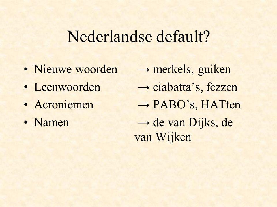 Nederlandse default Nieuwe woorden → merkels, guiken