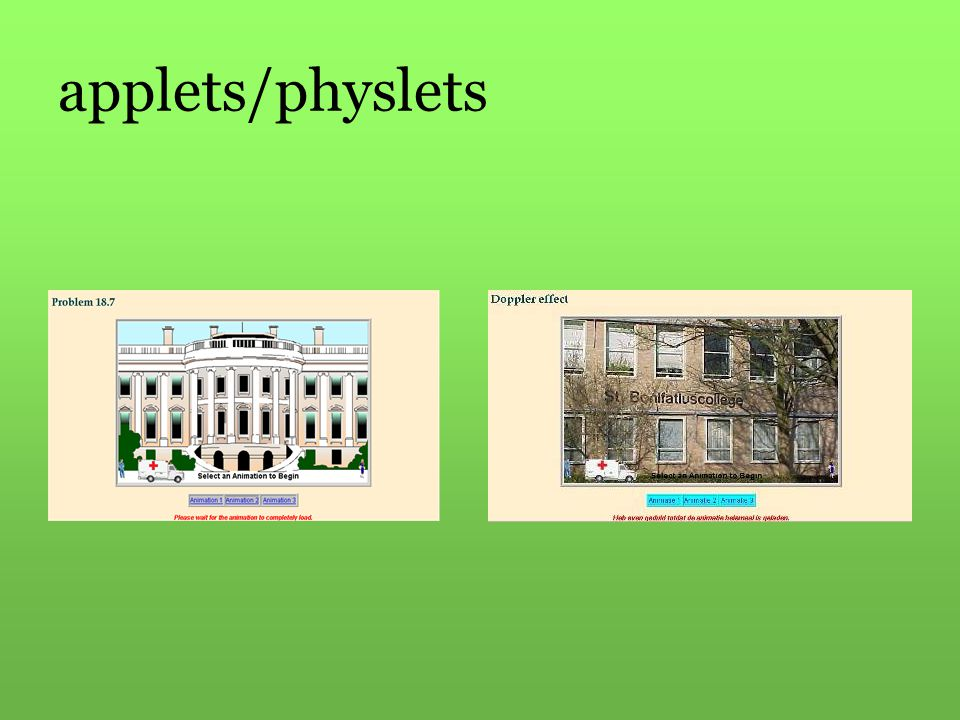 applets/physlets Links het origineel, rechts de bewerkte versie (toepassing van scholing rond html en applets)