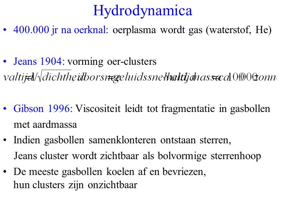 Hydrodynamica 400.000 jr na oerknal: oerplasma wordt gas (waterstof, He) Jeans 1904: vorming oer-clusters.