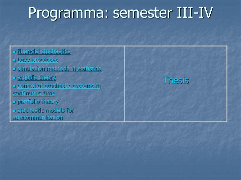 Programma: semester III-IV