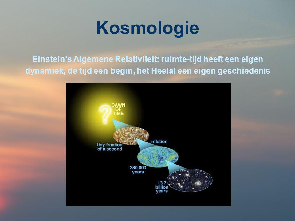 Kosmologie Einstein's Algemene Relativiteit: ruimte-tijd heeft een eigen.