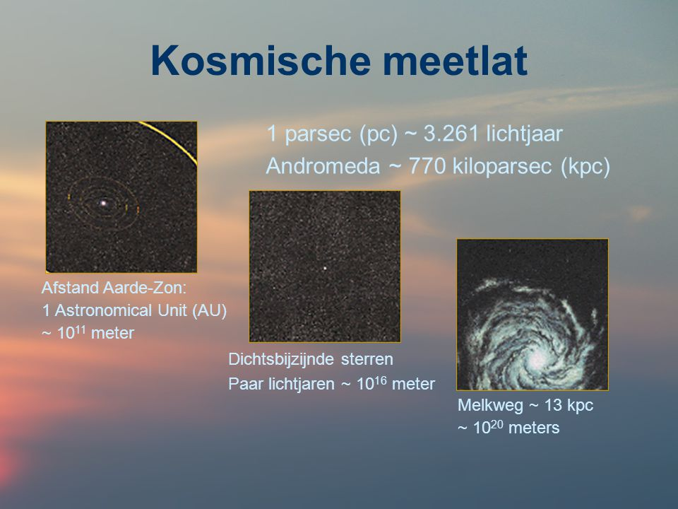 Kosmische meetlat 1 parsec (pc) ~ 3.261 lichtjaar