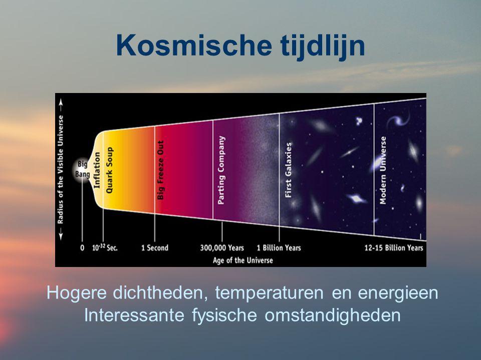 Kosmische tijdlijn Hogere dichtheden, temperaturen en energieen