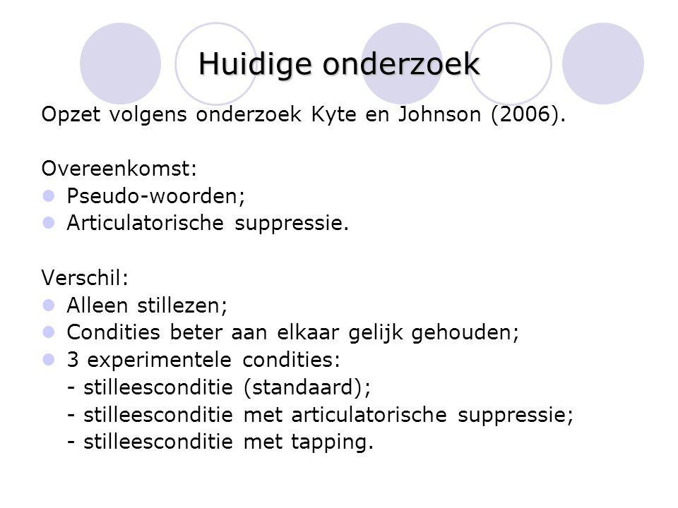 Huidige onderzoek Opzet volgens onderzoek Kyte en Johnson (2006).