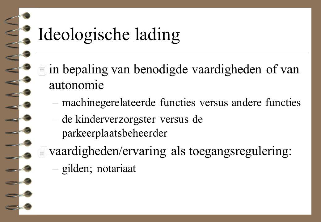 Ideologische lading in bepaling van benodigde vaardigheden of van autonomie. machinegerelateerde functies versus andere functies.