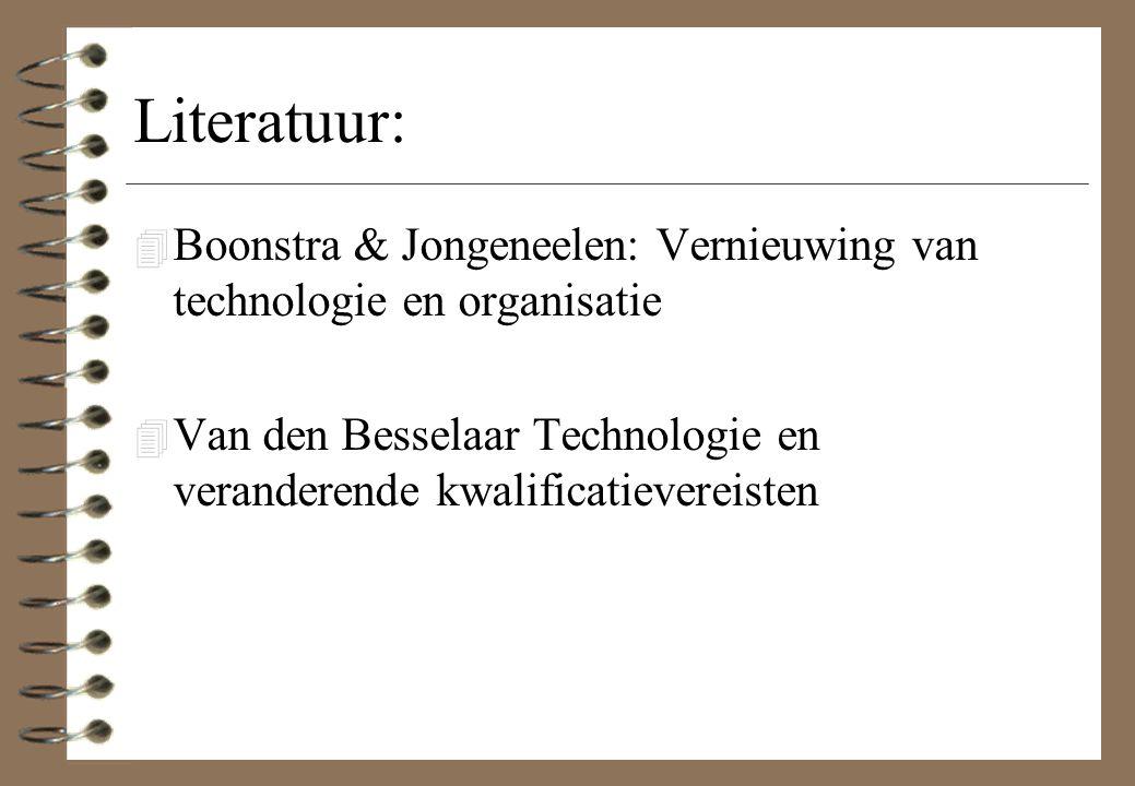 Literatuur: Boonstra & Jongeneelen: Vernieuwing van technologie en organisatie.