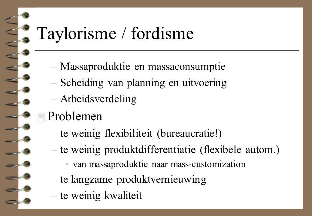 Taylorisme / fordisme Problemen Massaproduktie en massaconsumptie