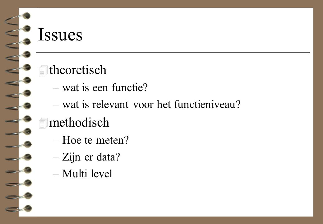 Issues theoretisch methodisch wat is een functie
