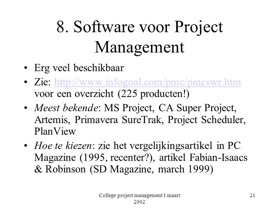 8. Software voor Project Management