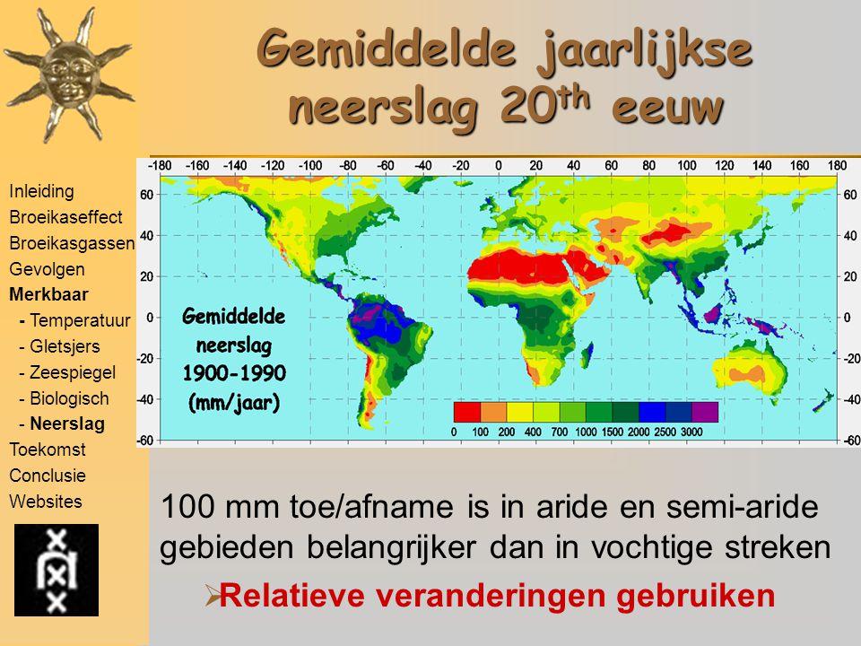 Gemiddelde jaarlijkse neerslag 20th eeuw
