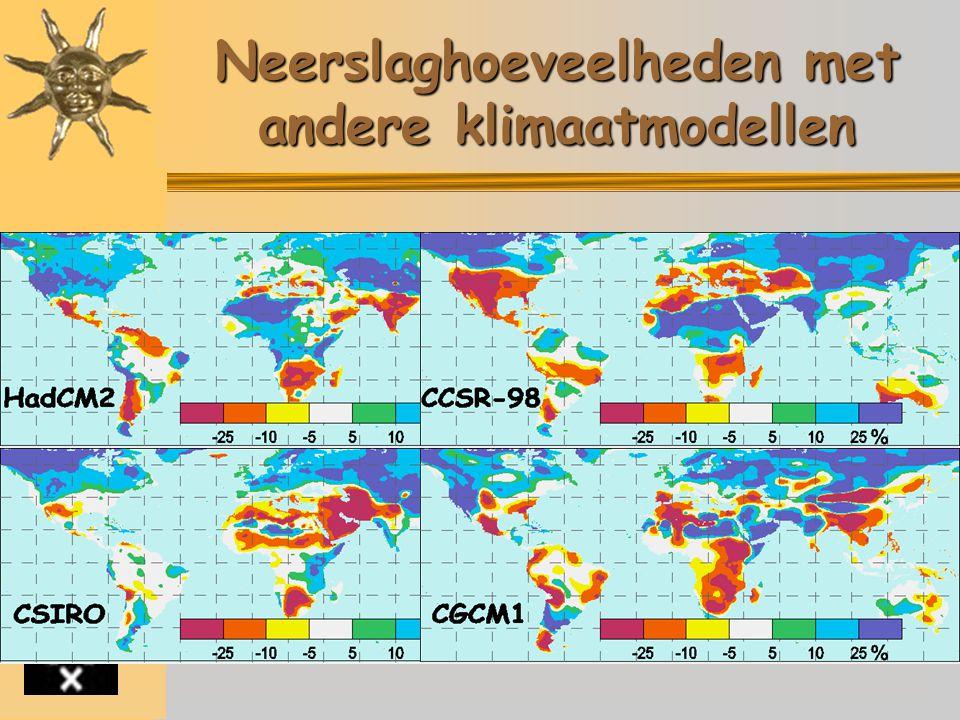 Neerslaghoeveelheden met andere klimaatmodellen