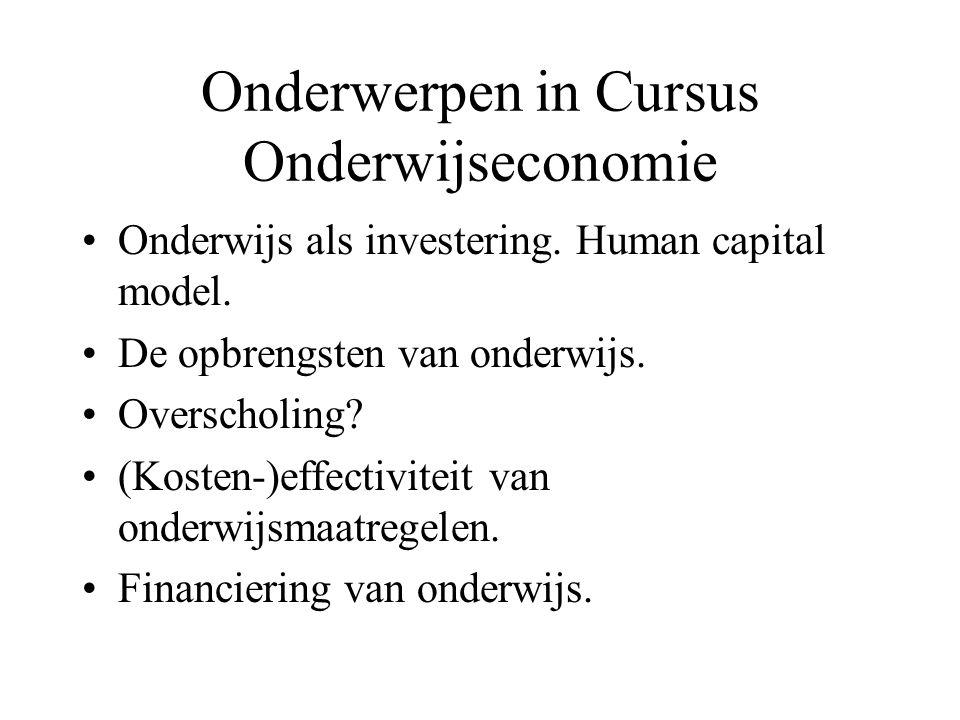 Onderwerpen in Cursus Onderwijseconomie