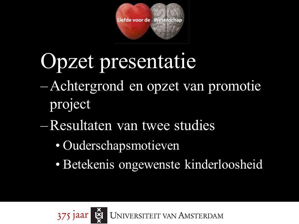 Opzet presentatie Achtergrond en opzet van promotie project