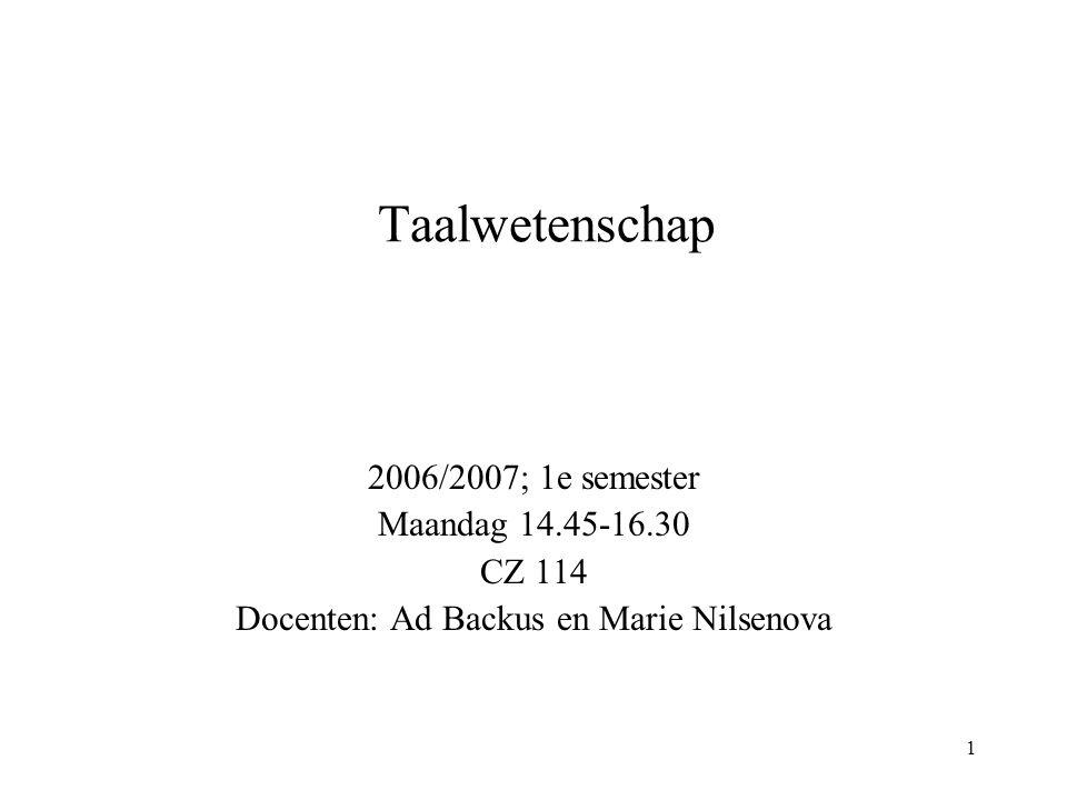 Docenten: Ad Backus en Marie Nilsenova