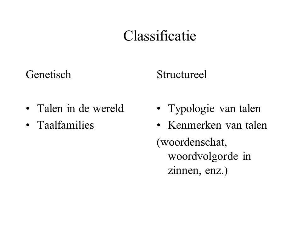 Classificatie Genetisch Talen in de wereld Taalfamilies Structureel