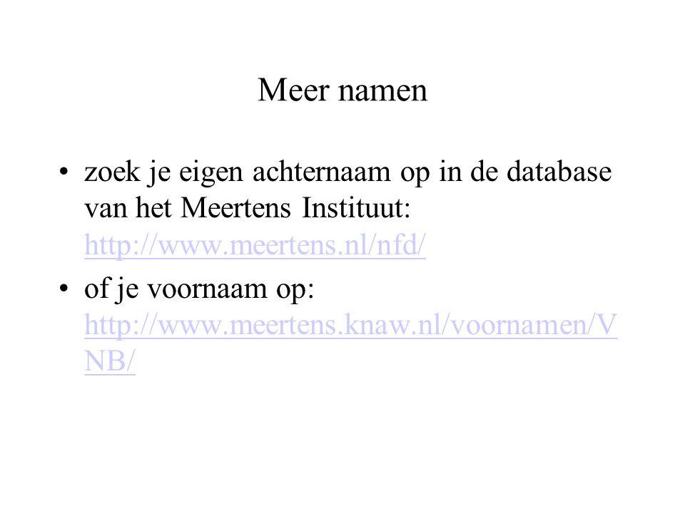 Meer namen zoek je eigen achternaam op in de database van het Meertens Instituut: http://www.meertens.nl/nfd/