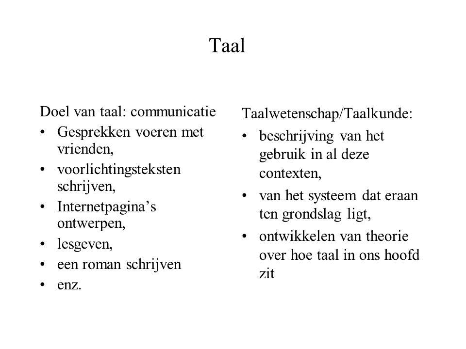 Taal Doel van taal: communicatie Gesprekken voeren met vrienden,