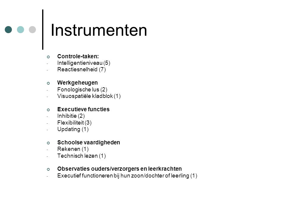 Instrumenten Controle-taken: Intelligentieniveau (5)
