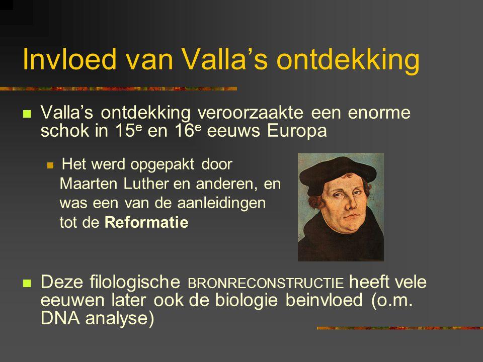 Invloed van Valla's ontdekking