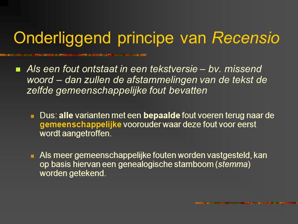 Onderliggend principe van Recensio