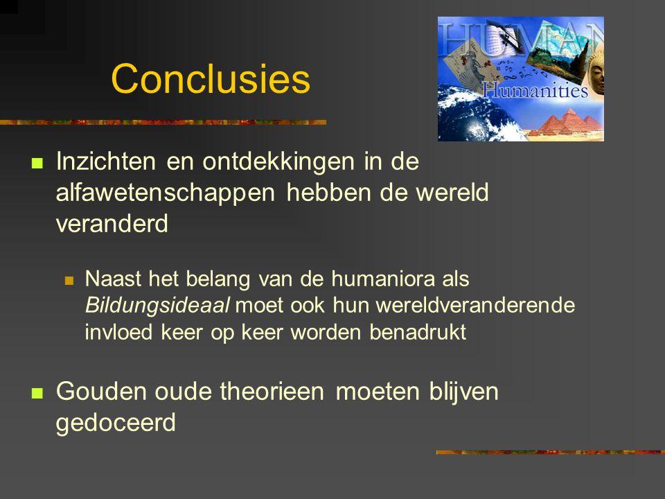 Conclusies Inzichten en ontdekkingen in de alfawetenschappen hebben de wereld veranderd.