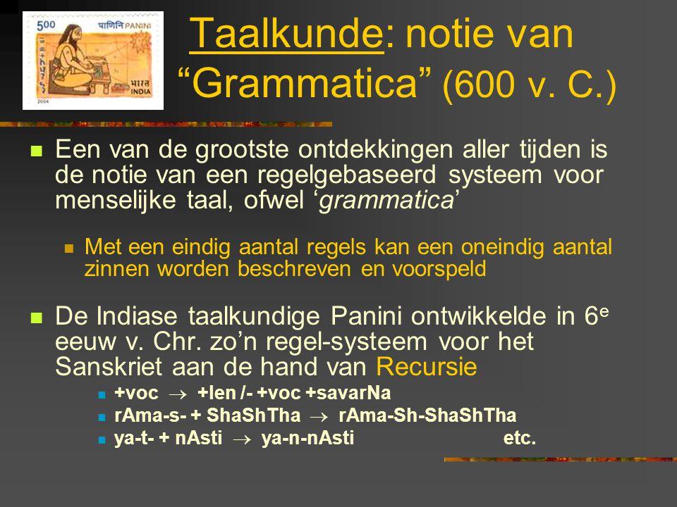 Taalkunde: notie van Grammatica (600 v. C.)