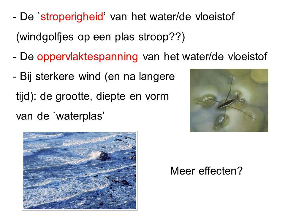 - De `stroperigheid' van het water/de vloeistof