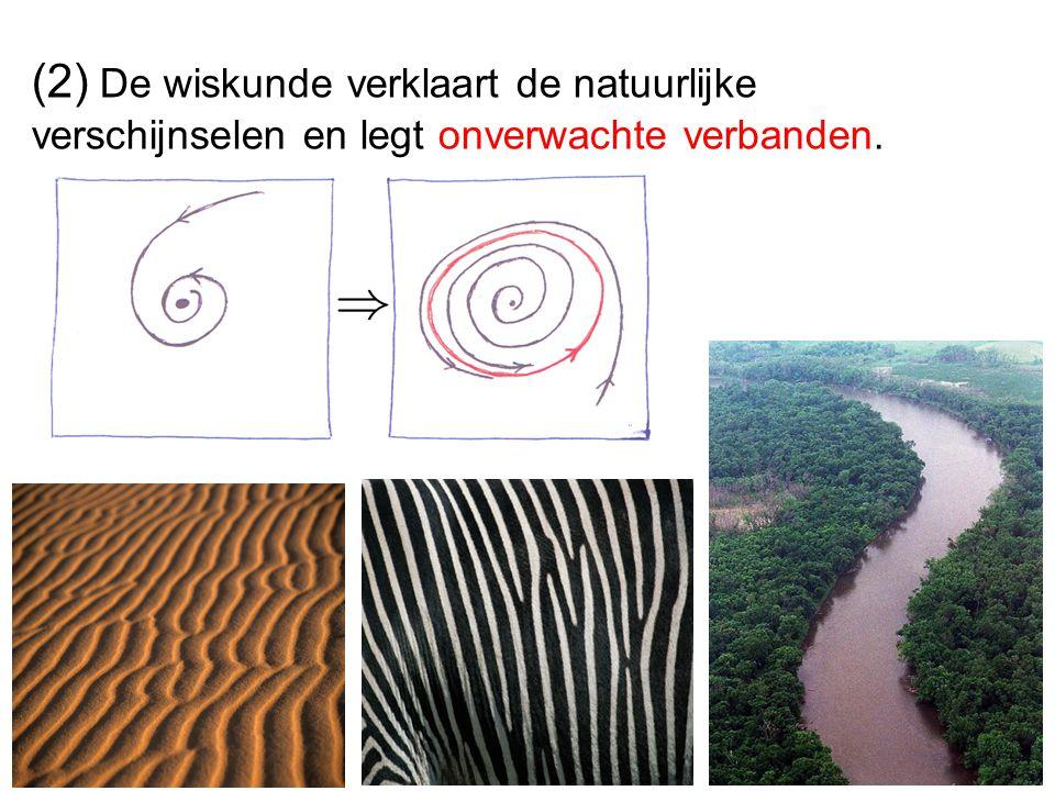 (2) De wiskunde verklaart de natuurlijke verschijnselen en legt onverwachte verbanden.