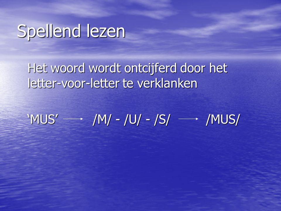 Spellend lezen Het woord wordt ontcijferd door het letter-voor-letter te verklanken.