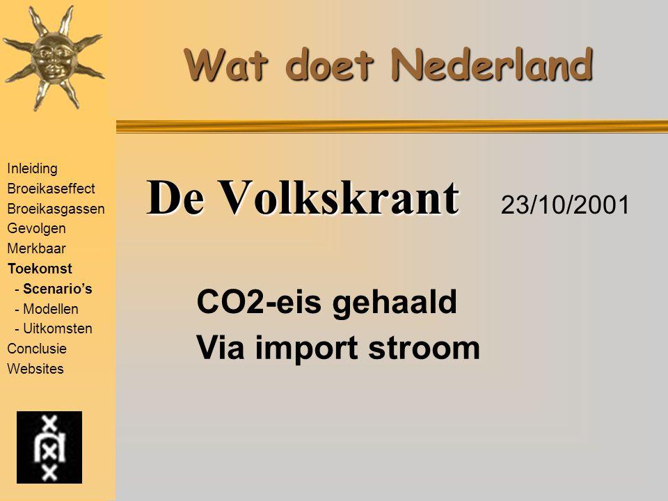 De Volkskrant 23/10/2001 Wat doet Nederland CO2-eis gehaald