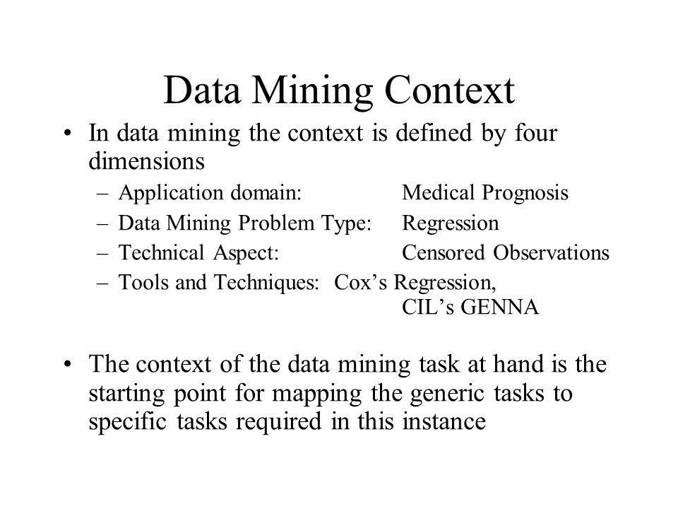 Data Mining Context In data mining the context is defined by four dimensions. Application domain: Medical Prognosis.