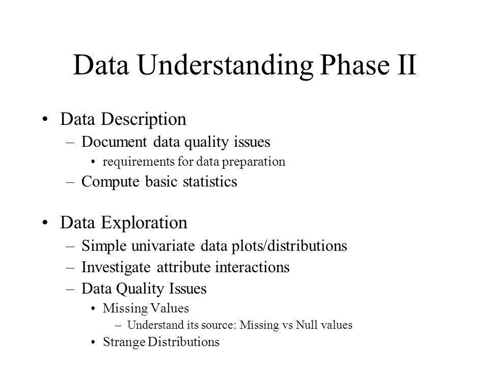 Data Understanding Phase II