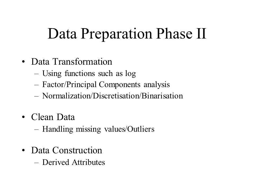 Data Preparation Phase II