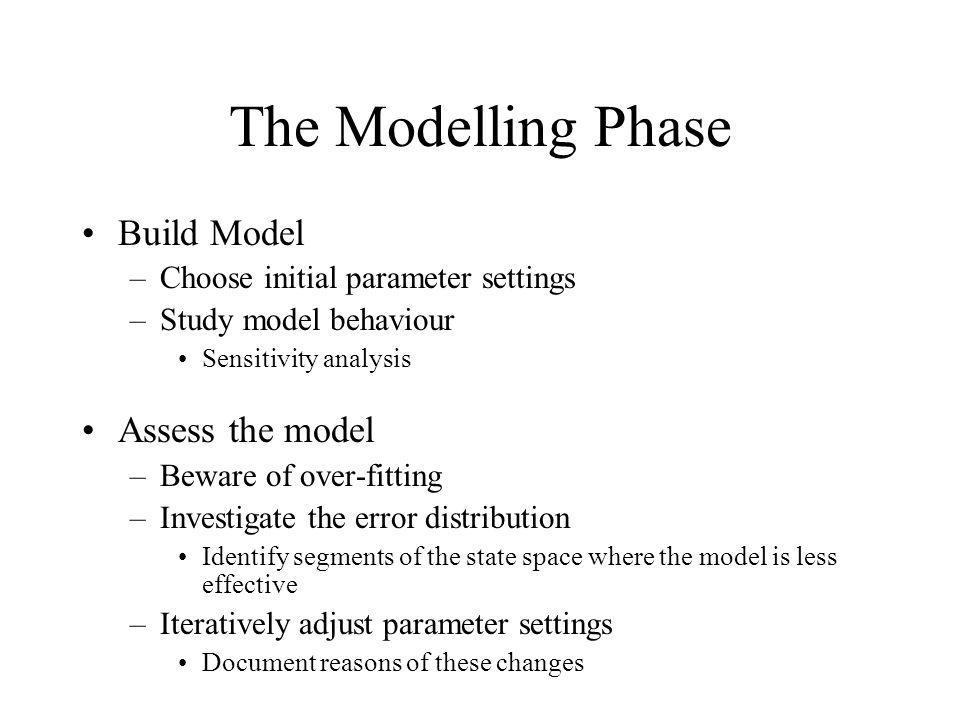 The Modelling Phase Build Model Assess the model