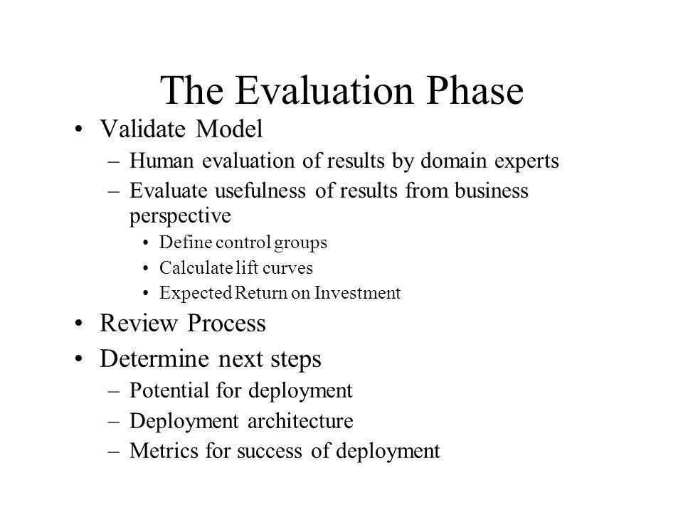 The Evaluation Phase Validate Model Review Process