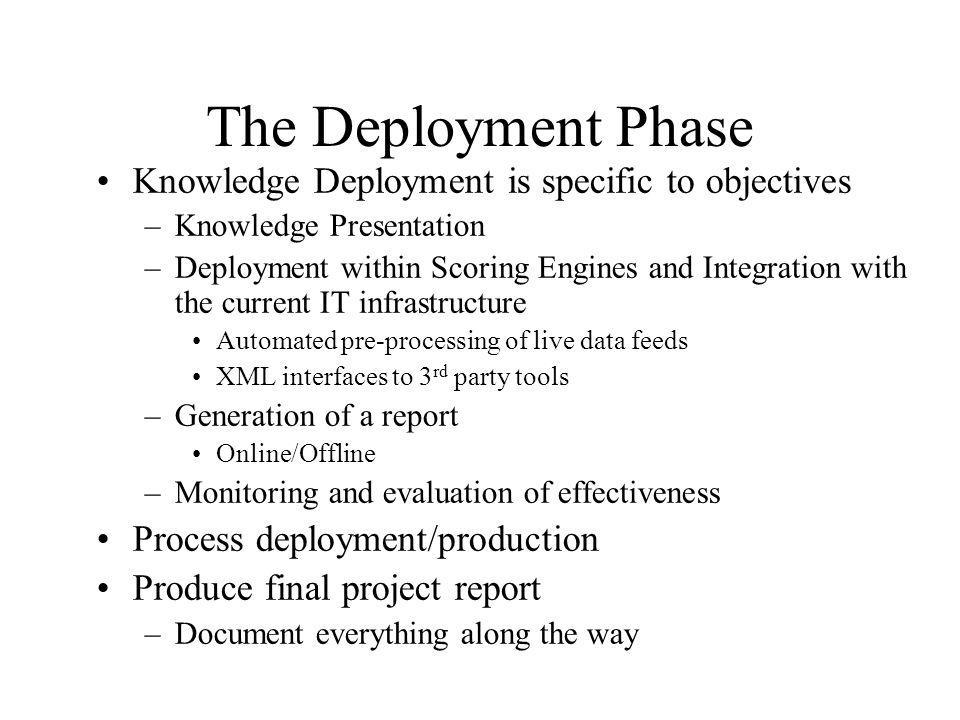 The Deployment Phase Knowledge Deployment is specific to objectives