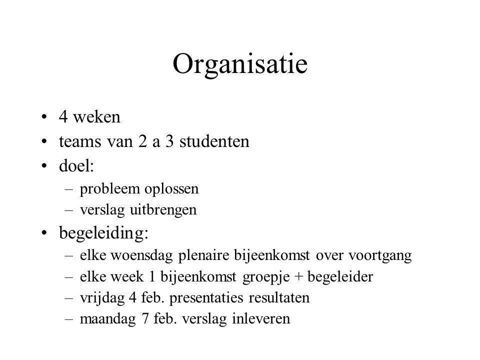Organisatie 4 weken teams van 2 a 3 studenten doel: begeleiding: