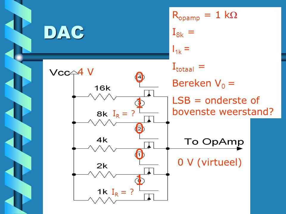 DAC 1 Ropamp = 1 k I8k = I1k = Itotaal = Bereken V0 =