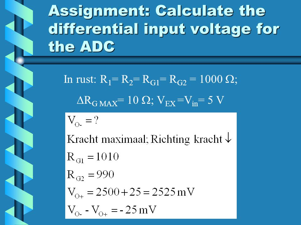 Assignment: Calculate the differential input voltage for the ADC