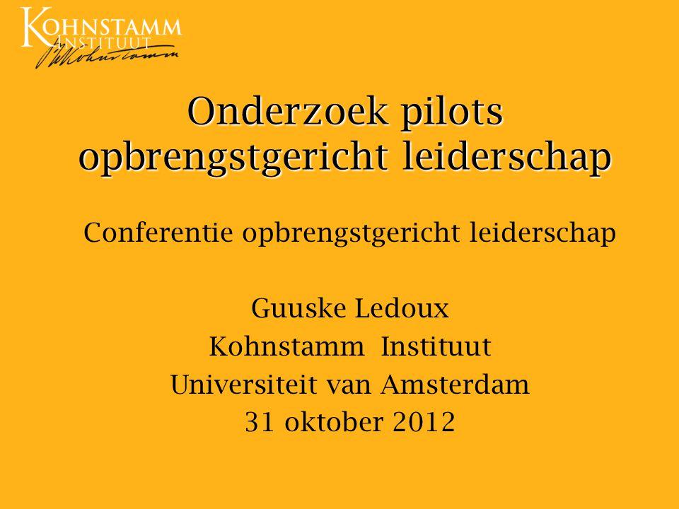 Onderzoek pilots opbrengstgericht leiderschap