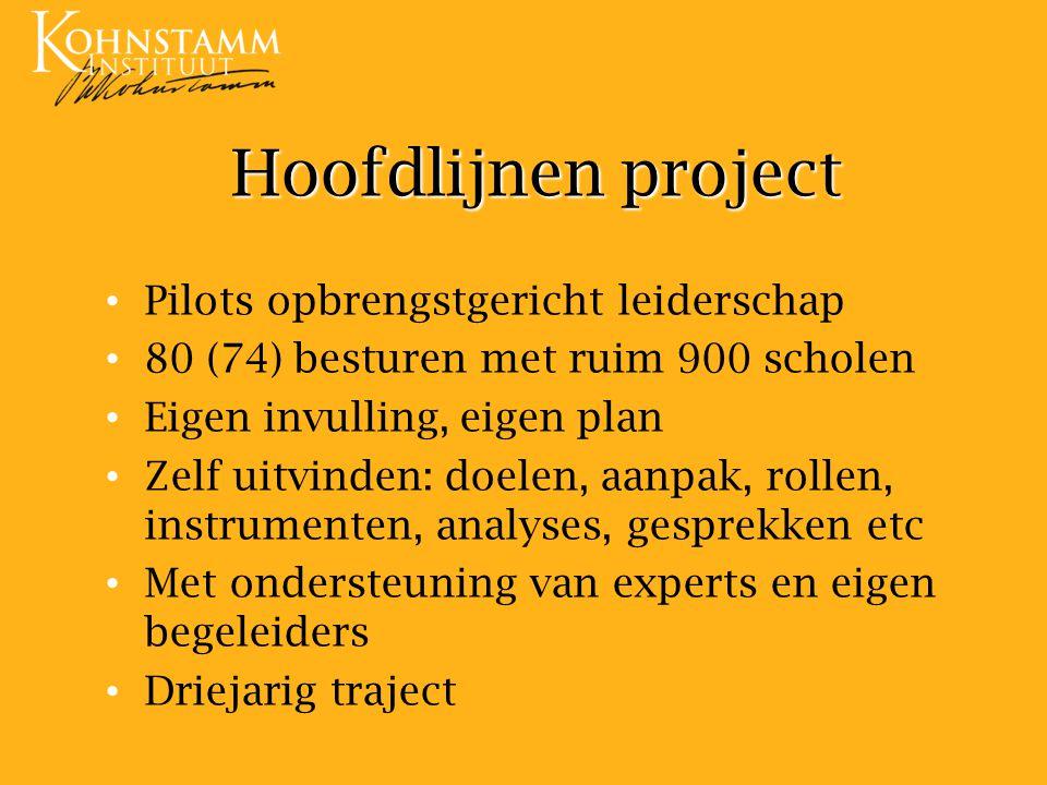 Hoofdlijnen project Pilots opbrengstgericht leiderschap