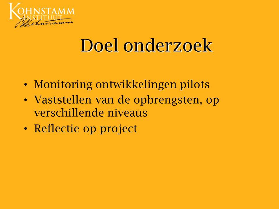 Doel onderzoek Monitoring ontwikkelingen pilots