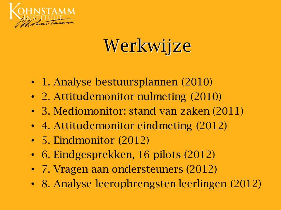 Werkwijze 1. Analyse bestuursplannen (2010)