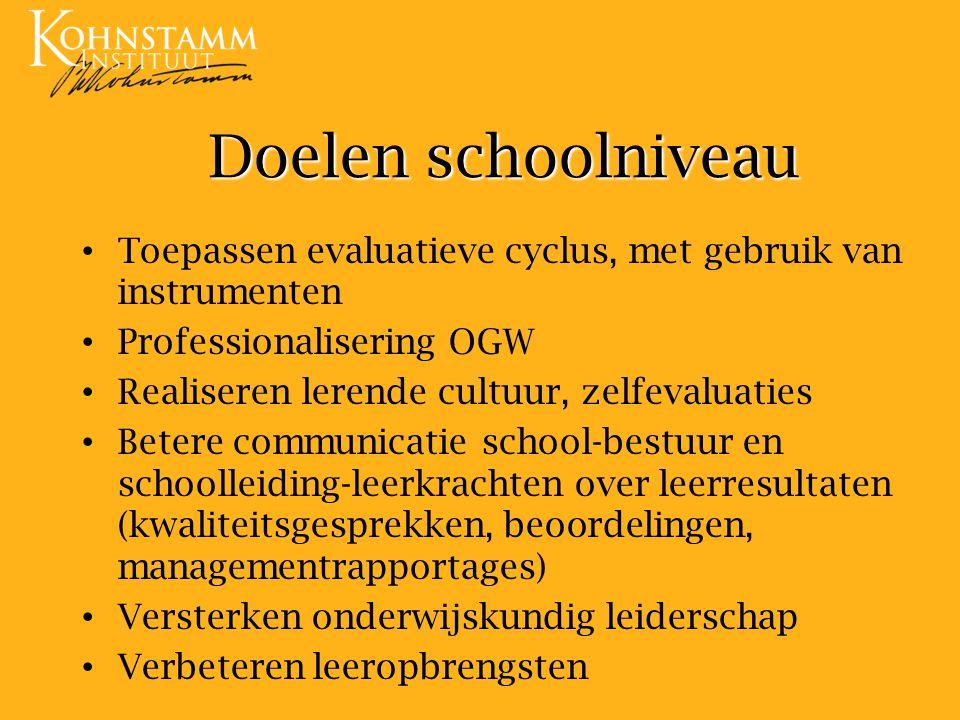Doelen schoolniveau Toepassen evaluatieve cyclus, met gebruik van instrumenten. Professionalisering OGW.
