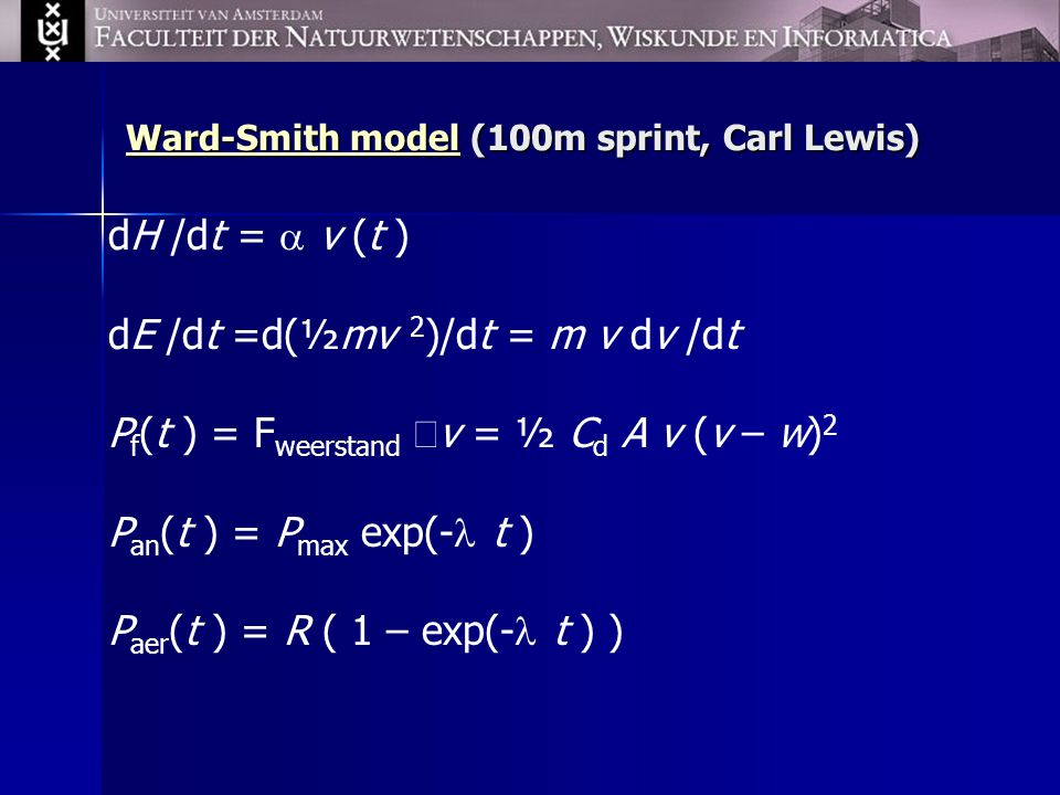 Ward-Smith model (100m sprint, Carl Lewis)