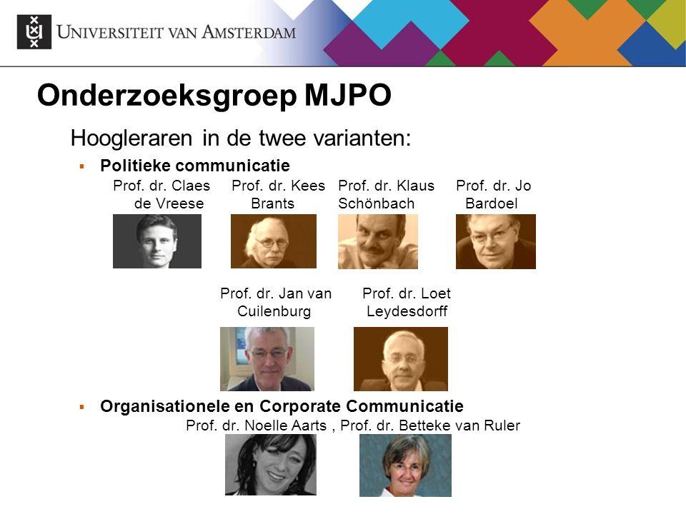 Onderzoeksgroep MJPO Hoogleraren in de twee varianten: